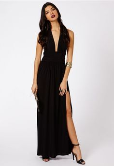 Alda Slinky Halterneck Maxi Dress In Black - Dresses - Maxi Dresses - Missguided   Ireland