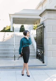 Pencil skirt...What I wore to the White House. The Bobbed Brunette: A Trip to The White House