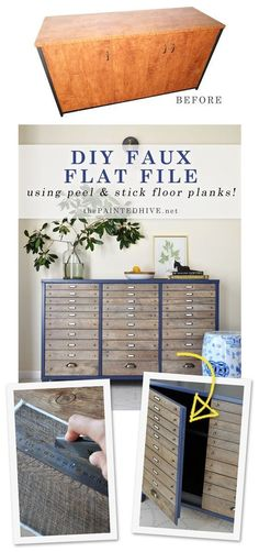 DIY Faux Multi Drawer Cabinet Using Peel and Stick Flooring.