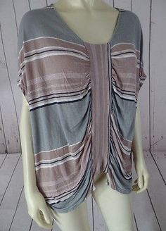 URBAN OUTFITTERS Knit Top XS Modal Pullover Grays Tans Striped Gathers BOHO CHIC