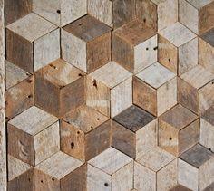 Reclaimed Hout Wall Art, Decor, patroon, lat., 3D, Cube, geometrische, grafische patroon door EleventyOneStudio