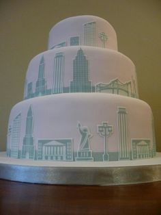 New York Skyline Wedding Cake Nyc Cake, City Cake, London Cake, Pretty Cakes, Beautiful Cakes, Amazing Cakes, Creative Desserts, Creative Cakes, Cupcakes