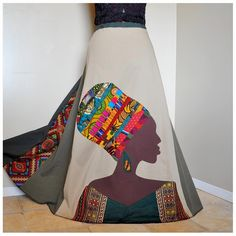 La Nubienne - Long Appliqued African skirt, Tribal Patchwork Boho skirt, Ooak Ethnic, African Woman skirt,  Can fit S to XL. $152.00, via Etsy.