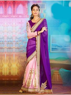 Buy Purple And Light Pink Georgette Saree With Pearl And Sequins Work Online - Saree.com