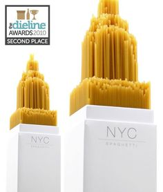 Building famous towers in New york with spaghetti noodles  is very creative and goes well with its product name.