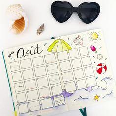 Voilà, je suis prête pour le mois d'août, et vous? Inspirée en partie de @qualcosadierre . #bulletjournal #bulletjournaljunkies #bujo #planneraddict #august #aout #coquillage #summer #summerdoodle #summerdrawing
