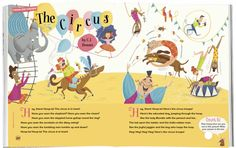 Hoop-la! We adore this vibrant Circus poem, illustrated by Rachael Saunders (http://rachaelsaunders.co.uk). In Storytime 17 ~ STORYTIMEMAGAZINE.COM