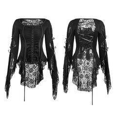 Viktorianische / Gothic-Bluse Dark Amber mit Spitze