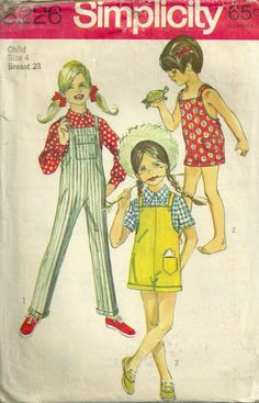 Simplicity 8226 1960s Girls  Bib Overalls and Blouse  vintage sewing pattern by mbchills
