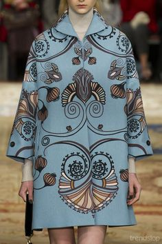 Ladylike blue coat with ornate pattern from Antonio Marras Fall/Winter 2015-16