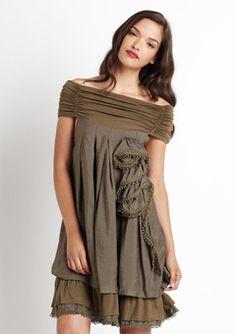 Gracia Brown Off Shoulder Dress