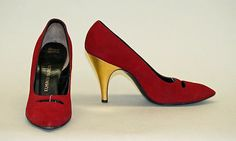 Shoes Design House: Herbert Levine Inc. (American, founded 1949) Date: 1957 Culture: American Medium: leather Dimensions: Heel to Toe: 10 in. (25.4 cm) Credit Line: Gift of Beth and Herbert Levine, 1977