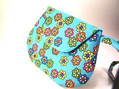 Small Blue Clutch Purse with Colorful Flowers by TrampLeeDesigns, $16.00