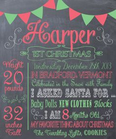 Baby's 1st Christmas Chalkboard Memory-Baby's Favorite Stats Print- Custom pdf file for Printing