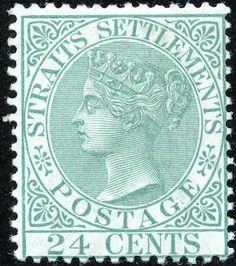 24¢. Blue-green - SG68a George Town, Strait Of Malacca, Straits Settlements, Queen Vic, Crown Colony, Cocos Island, Old Stamps, Labuan, Christmas Island