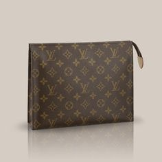 LV Toiletry Pouch 26 Monogram Canvas The largest of the toiletry pouch in Monogram canvas boasts a spacious interior with gusset sides for easy storage. It slips easily into a handbag and can double as a gorgeous clutch.
