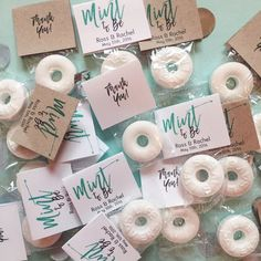 A bag of polos, some cellophane bags some Folded Business Cards and a stapler are all you need to bring these favours to life! Plus, as you're printing them yourself, you've got full control over your style and message – how good is that! #diyweddingfavors #diyweddingideas #diycrafts #diyprojects #weddingfavors