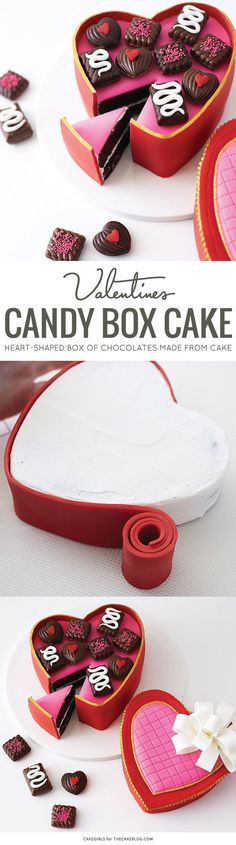 It's a cake! | Learn how to make this Valentine's candy box cake. A heart-shaped box of chocolates made from cake, perfect for Valentine's Day. By Cakegirls for TheCakeBlog.com.