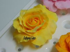 hand made edible yellow sugar gum paste rose for wedding and celebration cakes