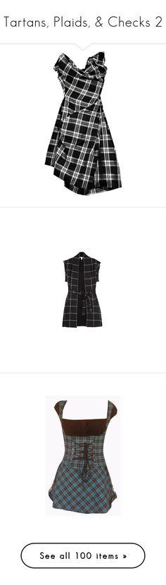 """Tartans, Plaids, & Checks 2"" by eternius ❤ liked on Polyvore featuring dresses, vestidos, vestiti, black, women, corsette dress, checked dress, corset style dress, checkered dress and silk corset"