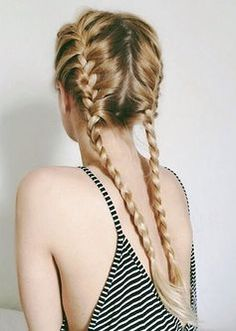 I wish I knew how to braid my hair like this. ~ Split your hair evenly down the back. For clean, polished braided pigtails, run some of Alterna's Bamboo Smooth Kendi Oil Dry Oil through your hair. Summer Hairstyles, Messy Hairstyles, Pretty Hairstyles, Ladies Hairstyles, Hairstyles Pictures, Feathered Hairstyles, Wedge Hairstyles, Teenage Hairstyles, Fashion Hairstyles