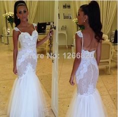 Hot Selling Fashionable Sweetheart Appliques Lace and Tulle Backless Mermaid Prom Dresses Party Evening Elegant 2014 $158.00