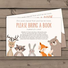 Baby shower Bring a book card Woodland Baby shower Woodland