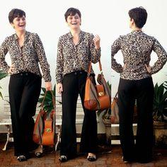 LEILA DINIZ *blog: ONÇA na camisa manga longa hering + CALÇA preta so...