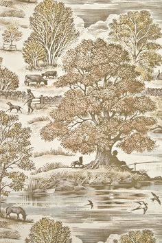 Royal Oak Linen Toile Curtain Fabric Large design cream linen curtain fabric depicting autumnal  bucolic tableau in ochres and browns.