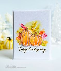 Happy Thanksgiving Card by Kay Miller for Papertrey Ink (August 2016)