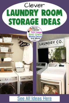 Utility Room Ideas For The Laundry Area, Closet or Nook In Your Small House - space saving organization ideas and creative storage solutions for your laundry room. / Clever / Laundry Room Storage Ideas / See All Ideas Here Laundry Nook, Tiny Laundry Rooms, Laundry Room Shelves, Living Room Shelves, Laundry Room Organization, Creative Storage, Storage Ideas, Storage Solutions, Organization Ideas