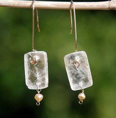 selenite crystal jewelry | Crystal Earrings with Pearls. Selenite Earrings In 14KGold Filled by ...