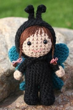 Crochet Pattern- Francisca dressed as a butterfly amigurumi doll. $4.75, via Etsy.