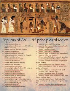 "Ma'at was the goddess of harmony, justice, and truth. These are her ancient principles, predating the bible by some 2000 years.  I've made this poster and marked with © the ""christian"" commandments and underlined the ones that we should have heard of, but we never have. Because that's ""their"" business."