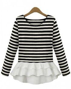 White Black Striped Ruffle T-Shirt