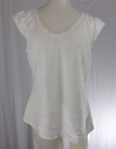 ANN TAYLOR LOFT 8 White Linen Short Cap Sleeve Crocheted Lace Shirt #AnnTaylorLOFT #Blouse #Casual