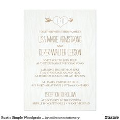 Rustic Simple Woodgrain Wedding Invitation