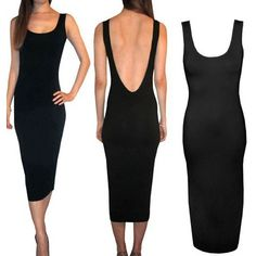 Winson Black Women Backless Midi Evening Cocktail Party sleeveless slim Dress >>> Discover this special product, click the image : Evening dresses