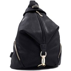Dasein Fold-over Faux Zippered Backpack with Goldtone Clip ($37) ❤ liked on Polyvore featuring bags, backpacks, black, leather zipper backpack, pocket backpack, faux leather backpack, genuine leather backpack and black leather knapsack