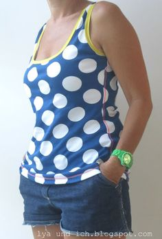 lya und ich: PunkteTanktop Polka Dot Top, Sewing Ideas, Basic Tank Top, Tank Tops, Diy, Fashion, La Mode, Dots, Moda