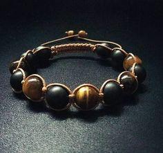 10mm Men Power Stone Tiger Eye Onyx Gemstone Shamballa Macrame Adjustable Straps Bracelet Men's Gift Father's Day Gift Healing Yoga Stones by ZenYogastones on Etsy