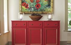 This elegant storage piece comes together with off-the-shelf base kitchen cabinets and simple molding