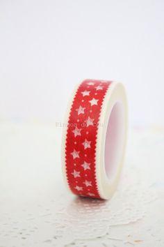 Red Washi Tape  Stars Washi Tape  Scrapbooking  by pingosdoceu