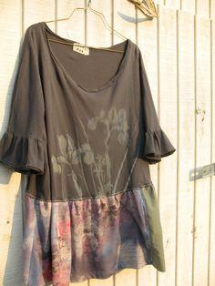 upcycled clothing - cropped ruffled t shirt / blouse  Funky by CreoleSha