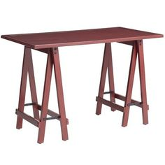 Sawhorse Desk - Mei Red - sewing machine table