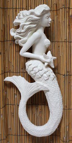 White Mermaid Profile Wall Art - Sea Beauty Mermaid Figure - California Seashell Co. https://www.caseashells.com/white-mermaid-profile/