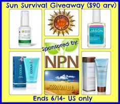 Win Sun Survival Prize pack ($90 arv) US only, ends 6/14!!  Awesome Organic products