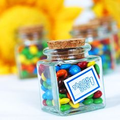 """Personalized Favor Jars - """"Petite Treat"""" Personalized Square Glass Favor Jars from Favor Couture http://www.favorcouture.theaspenshops.com"""