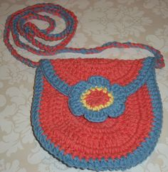 Crochet Purse with Flower Applique by SunniesToo on Etsy, $21.00