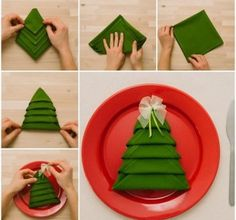 Flat Christmas tree napkin Fun Ways to Fold Your Napkins for Christmas Dinner Christmas Tree Napkin Fold, Christmas Napkins, Diy Christmas Tree, Xmas Tree, All Things Christmas, Christmas Time, Christmas Decorations, Christmas Ideas, Simple Christmas